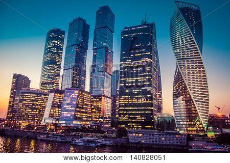 moscow, city, russia, business, international, beautiful, skyline, night, blue, evening, sky, light,