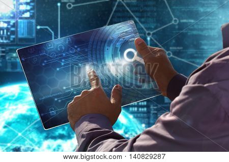 Internet. Business. Technology Concept.businessman Presses A Button  On The Virtual Screen Tablet Fu