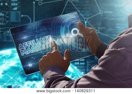 Internet. Business. Technology Concept.businessman Presses A Button Affiliate Marketing On The Virtu