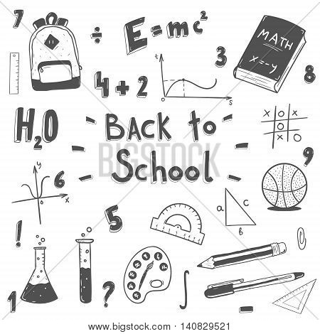 Hand drawn back to school doodle set.