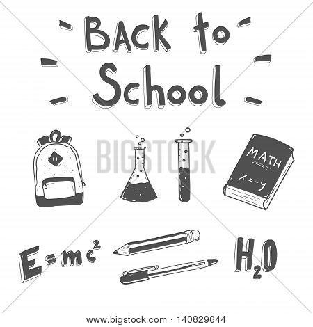 Back to school. Hand drawn doodle set. School supplies.