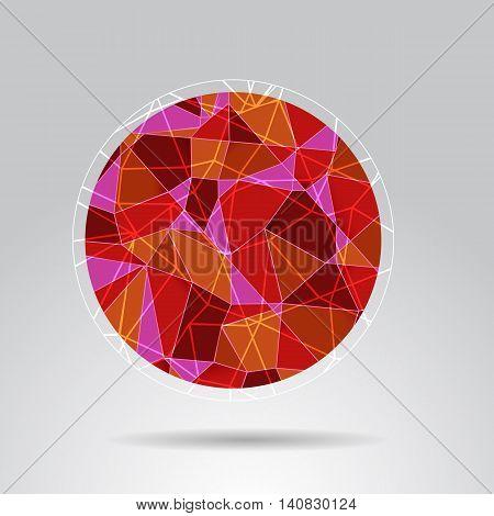 Orange polygon ball design background stock vector