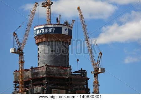 ST. PETERSBURG, RUSSIA - JUNE 4, 2016: Construction of Lakhta Center, the modern business area which will host the headquarter of Gazprom. The skyscraper have to be the tallest building in Russia