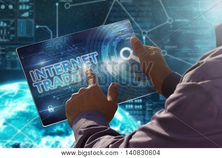 Internet. Business. Technology Concept.businessman Presses A Button Internet Trade On The Virtual Sc