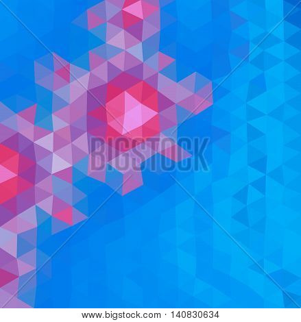 Colored polygonal background consist of triangles. Triangular design. Origami style. Mosaic. Crumpled triangle shaped wallpaper. In pink and blue colors.