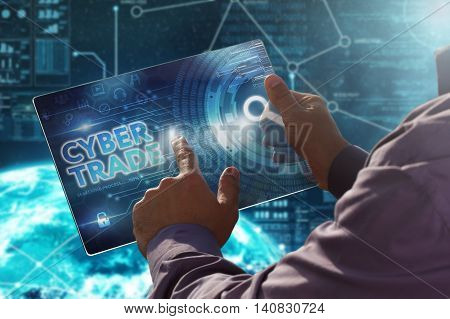 Internet. Business. Technology Concept.businessman Presses A Button Cyber Trade On The Virtual Scree