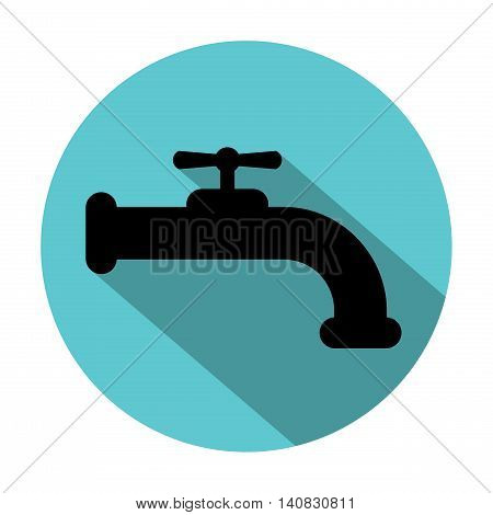 Faucet silhouette with long shadow in blue circle isolated on white background. Water tap. Design element in flat style.