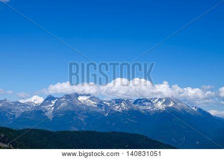 Snow capped mountains. Whistler Garibaldi Provincial Park British Columbia Canada.
