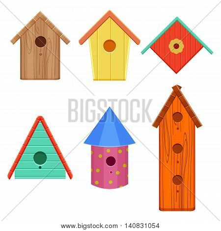 colorful bird houses set vector illustration isolated on a white background
