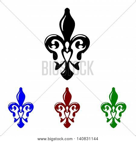 Fleur de lis symbol. French lily icons isolated on a white background.