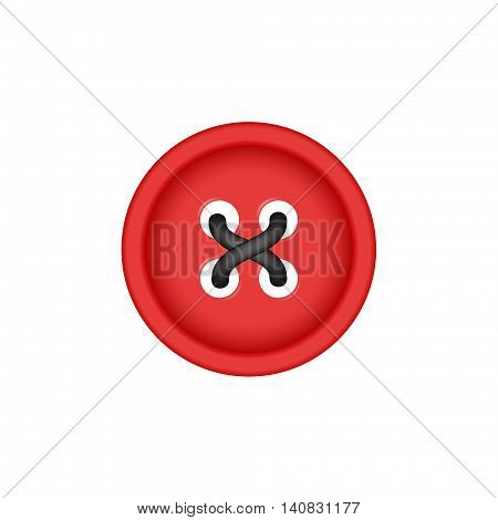 Sewing button in red design with sewing thread