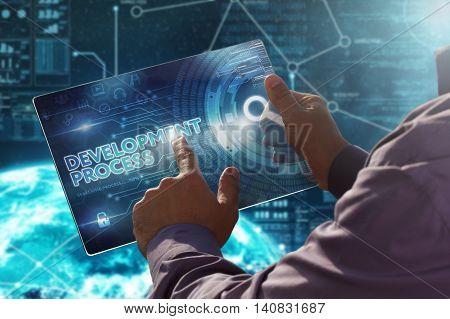 Internet. Business. Technology Concept.businessman Presses A Button Development Process On The Virtu