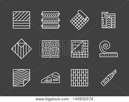 Construction and decoration materials for renovation works. Flooring services, linoleum covering. Quality floor cover. Set of flat white line vector icons on black background.