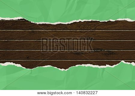 green wrinkled paper ripped on the wooden board. vintage style for your business. 3d illustration .