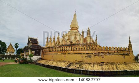 Pha That Luang temple in Vientiane, Laos. Famous golden symbol of the country.
