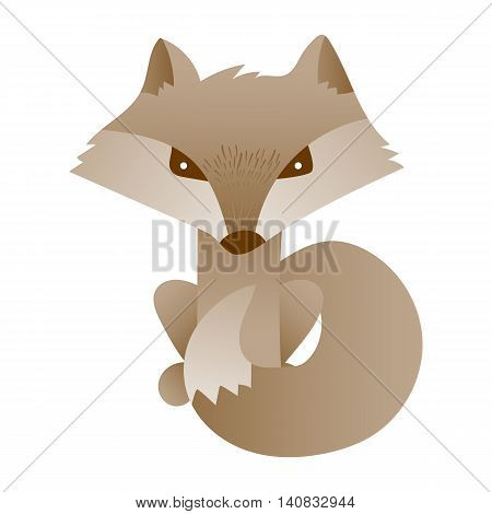 Vector cute fox. Hand draw cute character for children's illustration. Fox cartoon mascot