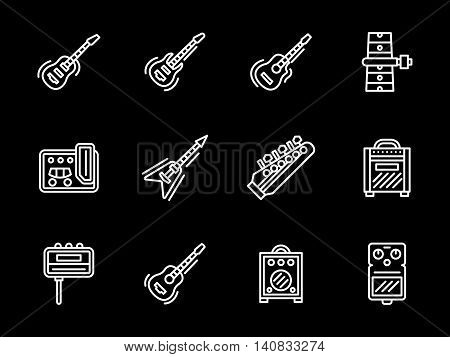 Guitar body and neck, amplifiers and combos, strings. Musical equipment for electric and acoustic guitars. Set of flat white line vector icons on black background.