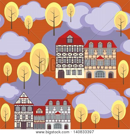 seamless pattern with the image of old town houses, clouds and trees. autumn cityscape.