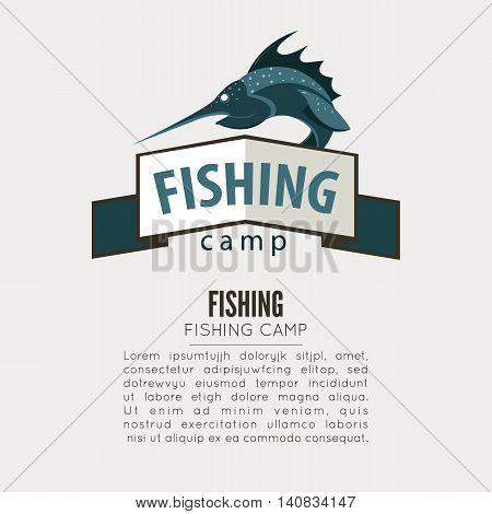 Vintage fishing label badge, poster template or logo. Vector Illustration.