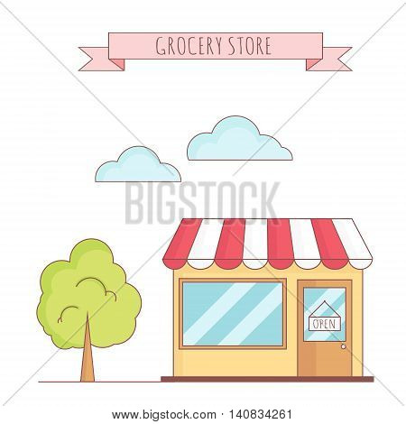Vector illustration of grocery store with tree, sky, grass. Linear  style