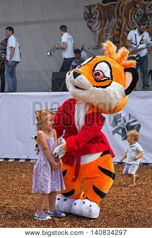 Moscow, Russia - July 31, 2016: Celebration Of The International Tiger Day In Moscow. Animator In A