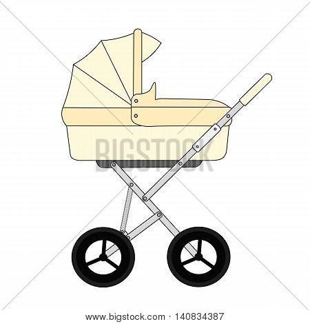 Yellow cartoon children's stroller for a newborn baby.