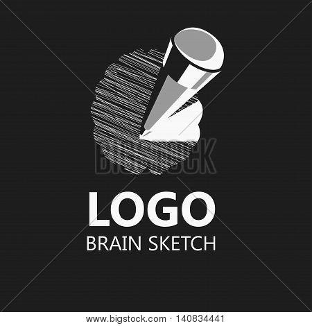 Brain sketch pencil icon logo. Vector Illustration.