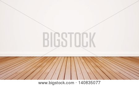Wood floor with white wall, interior empty space