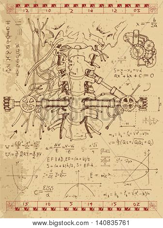 Graphic set with math formulas, human anatomy throat and mechanism in steam punk style. Hand drawn vintage illustration, sketch tattoo, old science background with esoteric symbols