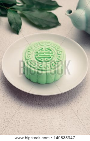 Traditional Chinese mid autumn festival food. Snowy skin mooncakes.