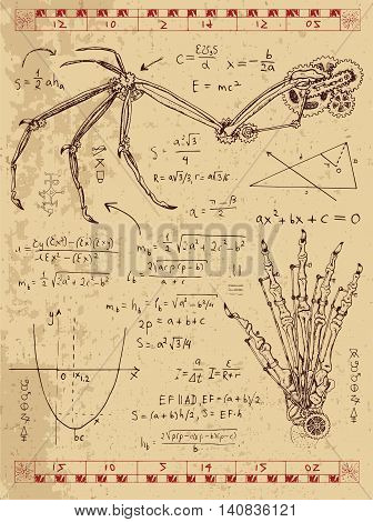Graphic set with steam punk mechanism in fantasy wing, monster hand and formulas. Hand drawn vintage illustration, sketch tattoo, old science background with mystic symbols