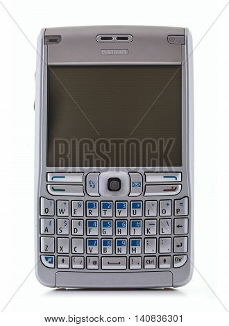 SWINDON UK - AUGUST 2 2016: Nokia E61 is a smartphone from the Eseries range on a White Background