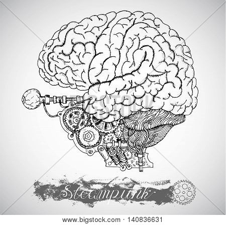 Human anatomy brain and eye with vintage mechanism in steam punk style. Hand drawn illustration, sketch tattoo, old black and white science background with lettering