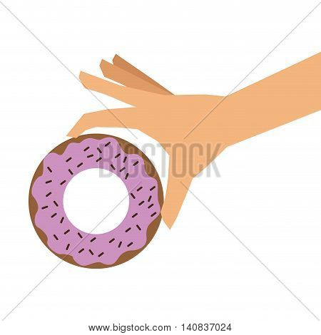 flat design donut glazed with sprinkles and hand icon vector illustration poster