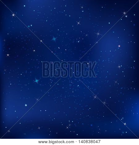 Blue Dark Night With Stars, With Gradient Mesh, Vector Illustration