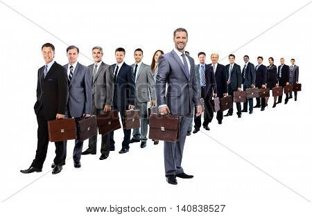 А long queue of businesspeople with their briefcase