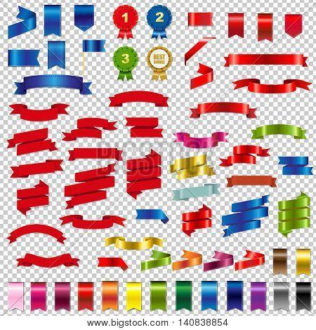Color Web Ribbons Big Set, Vector Illustration
