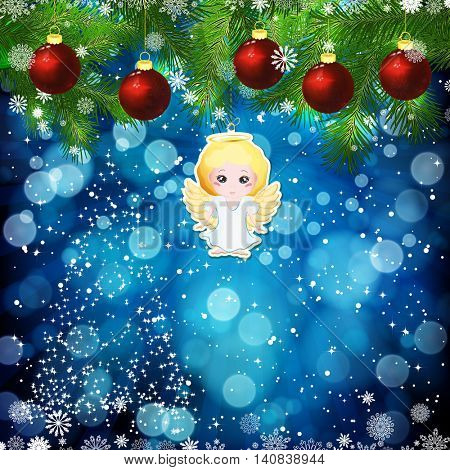 New Year design background. Template card whit red Christmas balls on the green branches . Silhouette of a Christmas tree made of stars. Falling snow. Toy decorative angel.Holiday illustration.