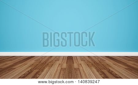 Wood floor with retro blue wall, interior empty space