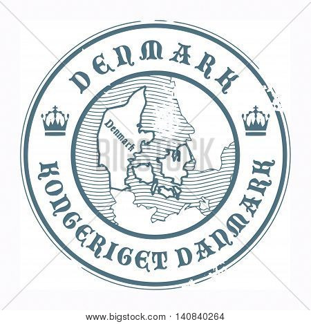 Grunge rubber stamp with the name and map of Denmark, vector illustration