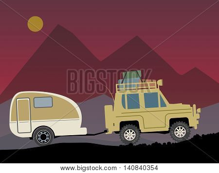 Off-road color vehicle with trailer, vector illustration
