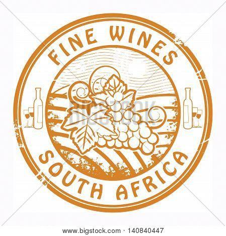 Grunge rubber stamp with words South Africa, Fine Wines, vector illustration