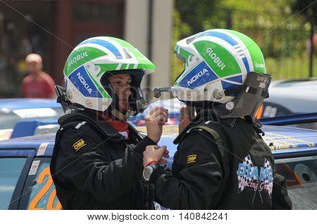 ELENA VELIKO TARNOVO PROVINCE BULGARIA - JULY 17 2016: Women car racers get ready for the race