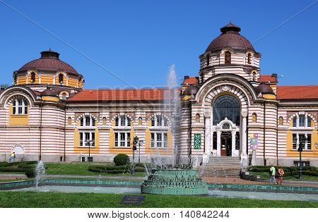 SOPHIA BULGARIA - JUNE 16 2016: Sophia History Museum in the building of the former Central mineral bathhouse