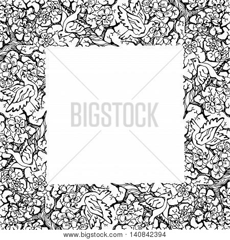 Hand drawing nature floral frame, vector illustration