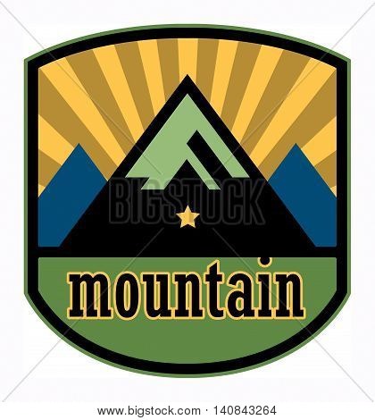 Abstract Mountain label or sign, vector illustration