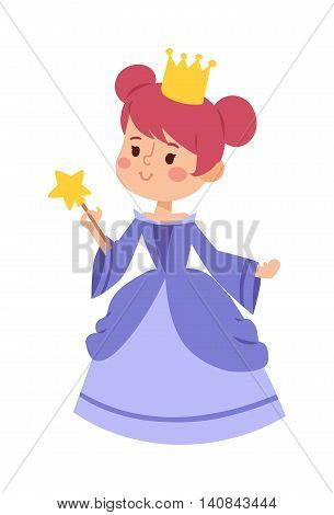 Cute beautiful princess vector character girl. Adorable elegance style princess little girl. Princess fashion fairytale costume, magic fantasy cute dress crown girl. Young adult kid