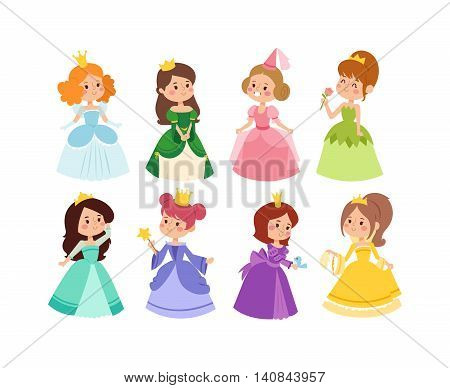 Cute collection of beautiful princesses vector character set. Collection adorable elegance style princess little girls. Princess fashion fairytale costume, magic fantasy cute dress crown girl.
