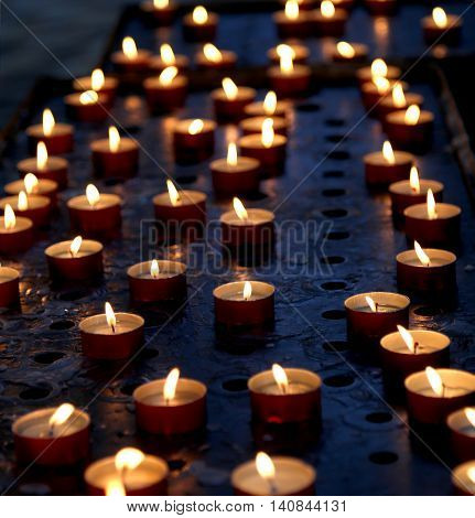 Many Candles In A Church For The Prayers Of The Faithful