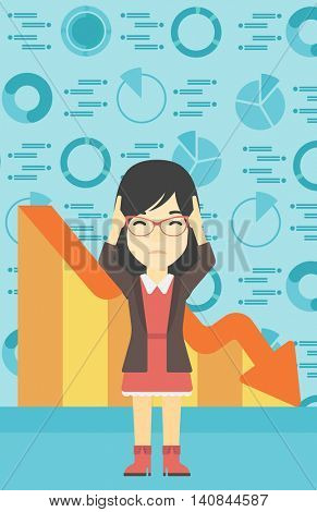An asian female bankrupt clutching her head. Female bankrupt with a big question mark above her head. Concept of business bankruptcy. Vector flat design illustration. Vertical layout.